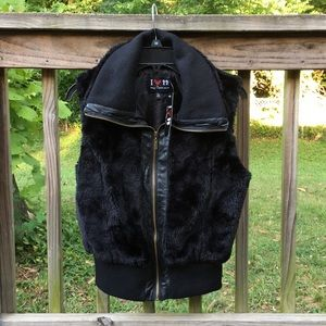NEW Boy Meets Girl Black Faux Fur Vest